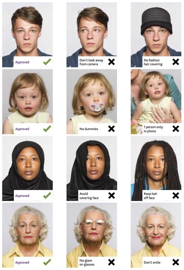 Примеры правильных и не правильных фотографий на британскую визу